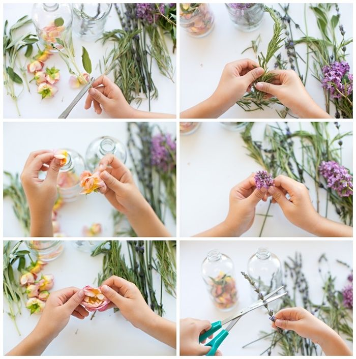 photo tutorial with six images, showing how to make a perfume bottle, by using fresh flowers and herbs, mother's day gift ideas, roses and lilac