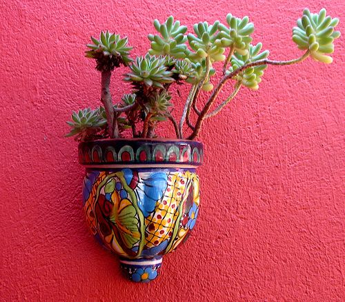 Lots of Mexican pottery on my patio - perfect colors for our tropical look.  Once a year, I clean it all really well and spray on an extra layer of clear coat.  Keeps it bright and shiny.