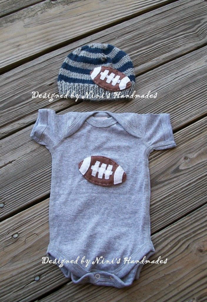 FOOTBALL Hat and Onesie Baby hat and bodysuit, Baby hat, beanie, football applique, sports, athletic, boys accessories, childrens clothing