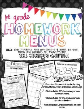 Check out these first grade Homework Menus!  They provide Reading, Phonics, Writing, Math, and Science tasks for the whole year.  There's also a monthly assessment system built in using the first 340 Fry words.  Even better, this includes blank editable menus and calendars to make your own!