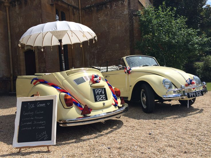 Ice cream serve from a beetle at a beautiful red, white and blue themed wedding.