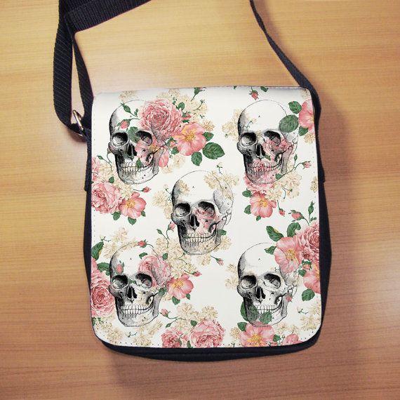 Skulls and Flowers Shoulder Bag  Small Shoulder by RegalosOnline