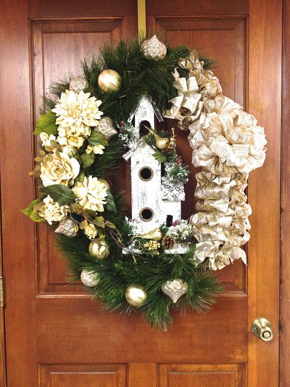 FREE SHIPPING Enter XMAS3 at Check Out Christmas Wreath Oval  Gold Ivory Distressed Wood Birdhouse Pine Wreath 36""