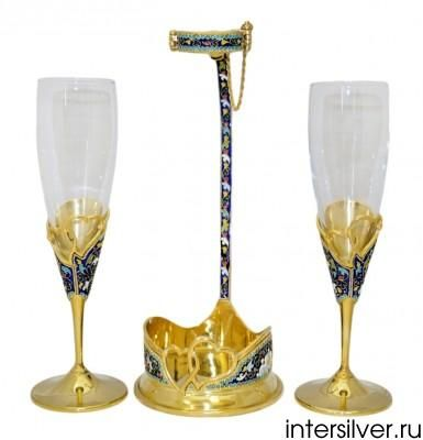 Silver wedding set: two wine glasses with handle for wine bottle