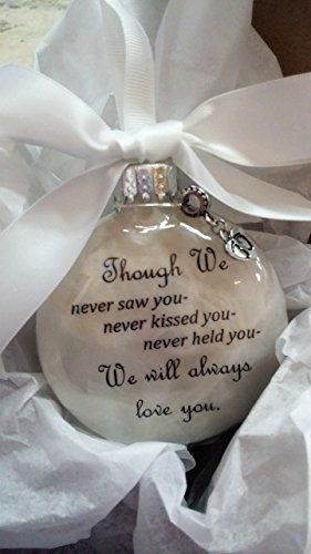 "Miscarriage Gift Christmas Ornament ""Though We Never Saw You"" w/ Baby Footprints Charm"