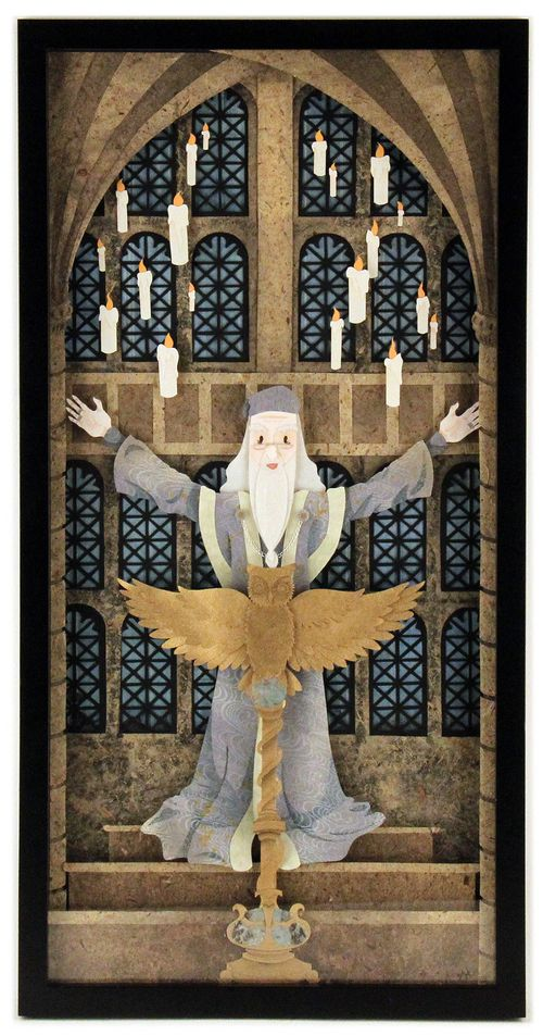 Dumbledore in the Great Hall cut paper art