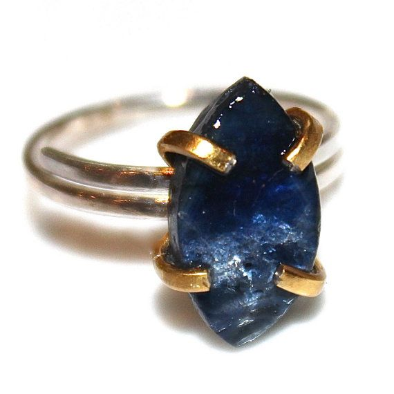 This raw sapphire marquise ring is rustic and delicate! An gold vermeil shank…