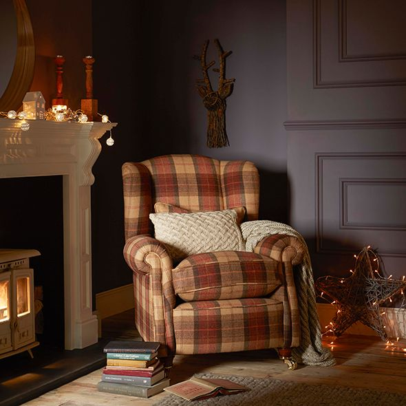cozy reading nook | tartan