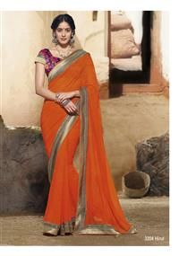 Energetic orange color saree with golden sequential border & printed silk blouse piece... It's unique!