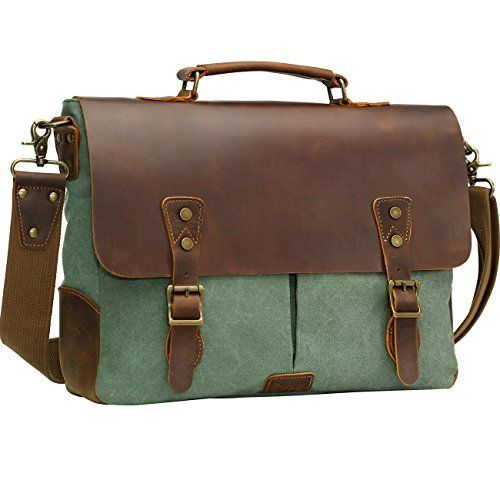 New Trending Briefcases amp; Laptop Bags: Wowbox Leather Vintage Messenger Bag for 15.6 inch laptops,Satchel Briefcase Bag for Men and Women Green. Wowbox Leather Vintage Messenger Bag for 15.6 inch laptops,Satchel Briefcase Bag for Men and Women Green   Special Offer: $59.99      233 Reviews 【Note】 1.The distinguishing feature of our bag leather is that leather surface have disorderly wrinkles, scars, scratches that present the style...