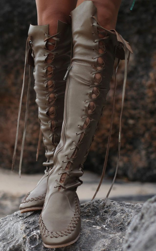 a479ec76609c Knee High Boots in Olive Metallic Leather. THE boots! | functional boots |  Boots, Knee high boots, Leather boots