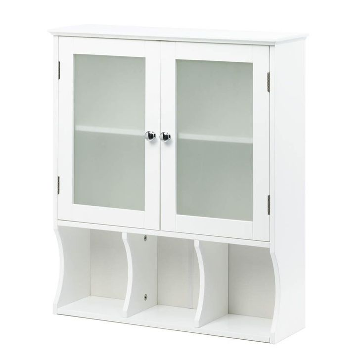 White Bathroom Wall Storage Cabinet Frosted Glass Medicine Vanity Bath Sink Unit #HomeLocomotion