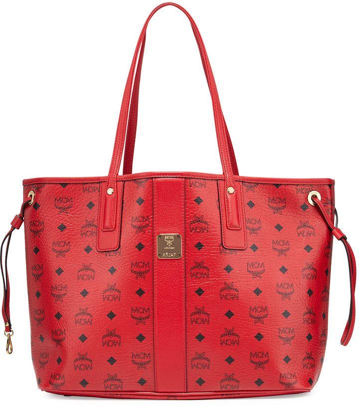 MCM Liz Reversible Medium Shopper Tote Bag, Ruby