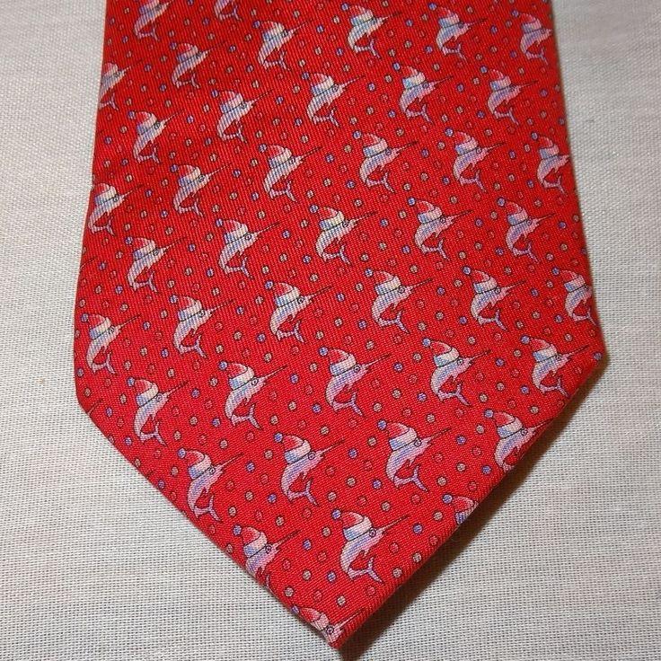"Vineyard Vines Marthas Vineyard Christmas Marlin Fish Tie Necktie 55"" Holidays #VinyardVines #Tie"
