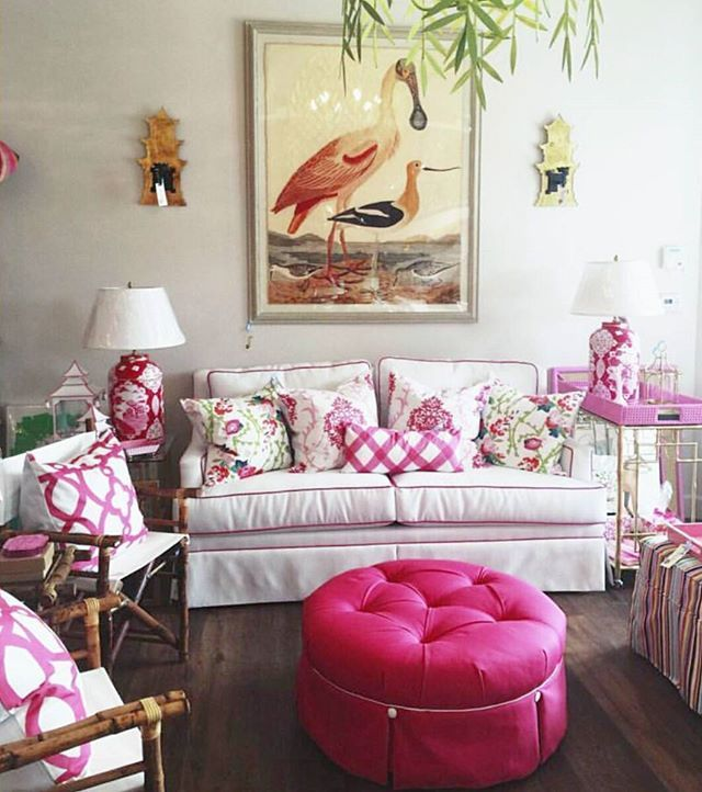 #SocietySocialShopPartner Spotlight: Pink morning from Palm Beach! Fly South to @thenestpalmbeach for an incredible selection of our sofas, tufted ottomans, bar carts, mirrors, and more! Palm Beach chic, ladies!  When can I visit?