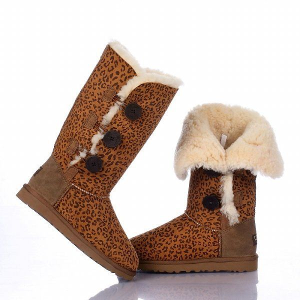 UGG Bailey Button Triplet Boots 1873 Leopard $120.99