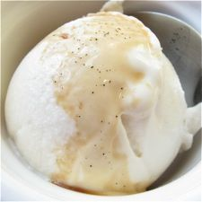 Vanilla Frozen Yogurt: King Arthur Flour  :::::::::::::::::::::::::::::::::::::::::::::::::::::::::::::::::::::  ■1 quart plain low-fat yogurt*  ■1/2 cup sugar, superfine Baker's Special sugar preferred  ■2 tablespoons honey  ■2 to 3 teaspoons vanilla extract  ***Why not start with fruit-flavored or vanilla yogurt? Because we've found these yogurts don't drain as well.