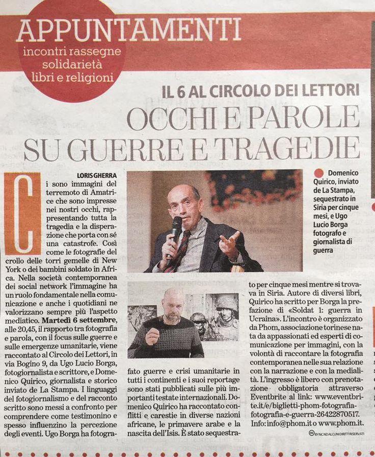 Articolo di Torino Sette sulla serata del 06 settembre, secondo appuntamento dell'iniziativa Incontri 2016