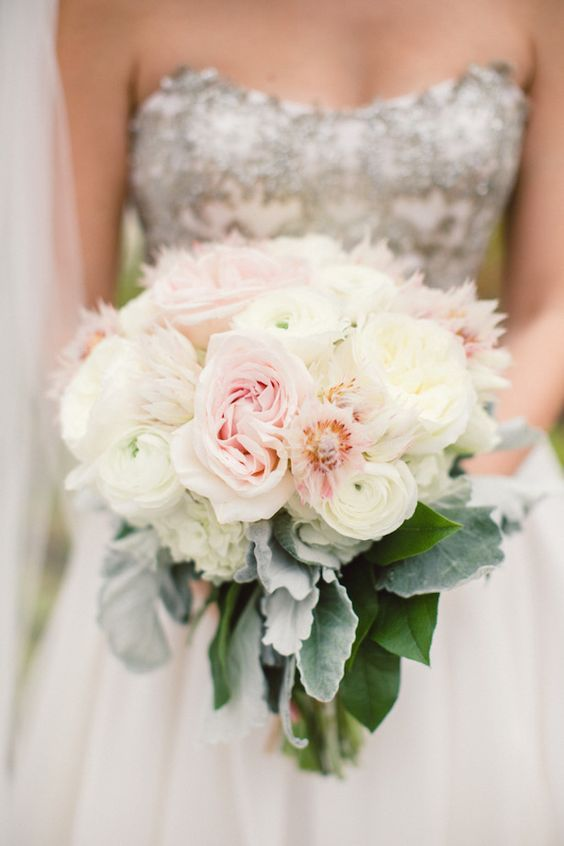Beautiful blush and white wedding bouquet; Featured Photographer: Lauren Gabrielle Photography