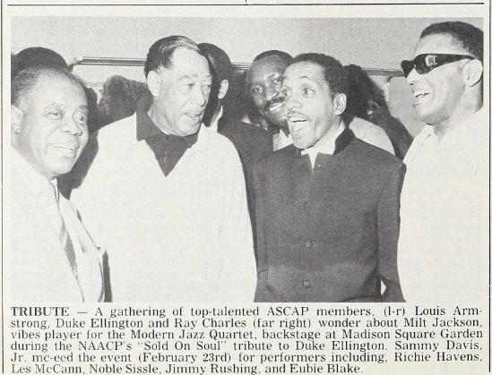 Louis Armstrong, Duke Ellington, Milt Jackson and Ray Charles, backstage at the Sold On Soul tribute to the Duke on February 23, 1970 at Madison Square Garden in New York.