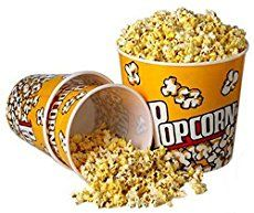 "[Novelty Place] Retro Style Plastic Popcorn Containers for Movie Night - 7.25"" Tall x 7._.25"" Top Diameter (6 Pack)"