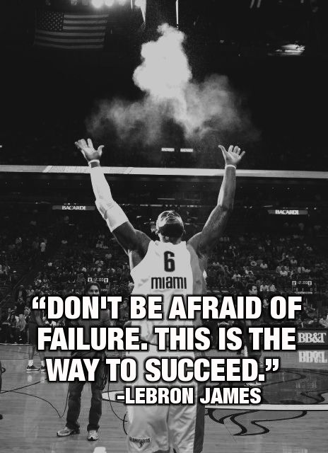 Don't be afraid of failure. This is the way to succeed. ~LeBron James #entrepreneur #entrepreneurship #quote http://linktick.com/