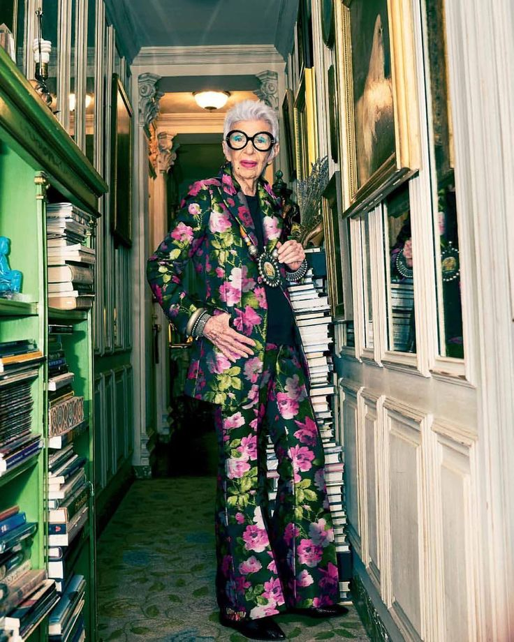 "32.1k Likes, 587 Comments - Iris Apfel Official (@iris.apfel) on Instagram: ""Shooting at my place for @elleindiaofficial 's 250th issue @thebadlydrawnboy @malini_banerji …"""