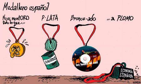 Medallero español por la #crisis #humor #nosrobanlacartera