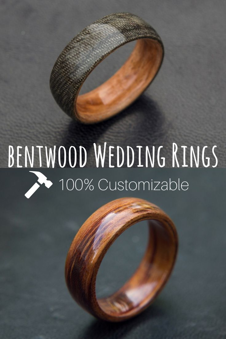 Mens Bentwood Wedding Bands These Wood Rings Are 100% Customizable You  Can Even