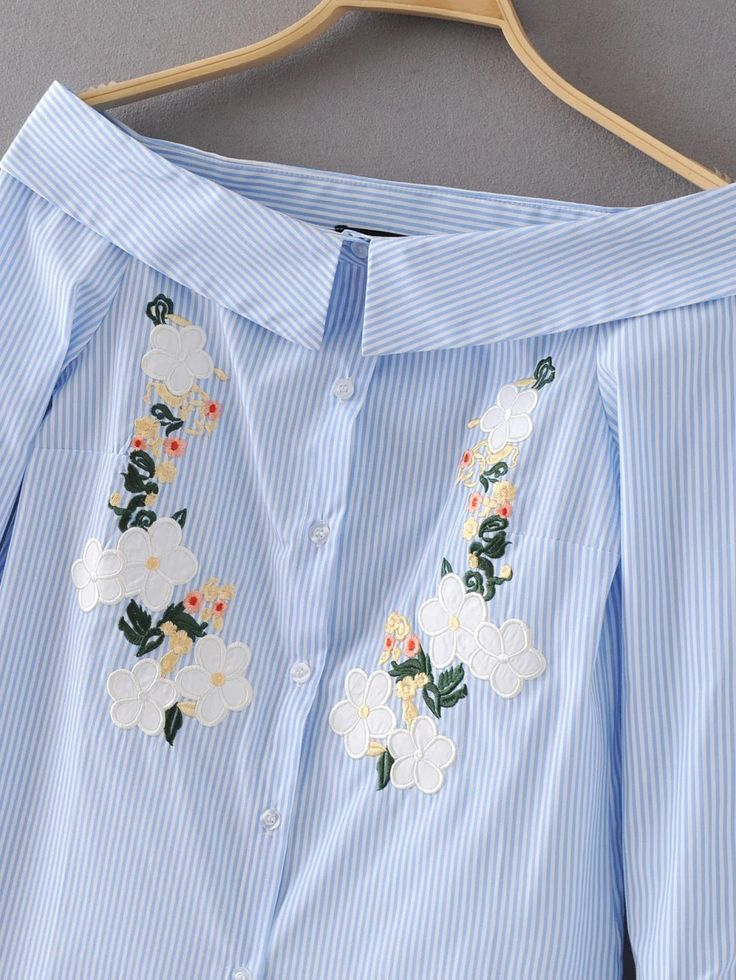 Blue Vertical Striped Flower Embroidery Off The Shoulder Blouse -SheIn(Sheinside)