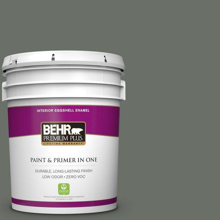 BEHR Premium Plus 5 gal. #ecc-41-3 Laurel Oak Zero VOC Eggshell Enamel Interior Paint