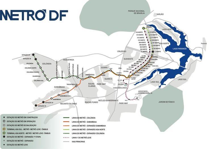 Brasilia a son propre système de métro comme n´importe quelle grande ville et couvre la plupart de la région métropolitaine. Ce système relie la ville avec de nombreux points du District Fédéral.  #metro #brasilia