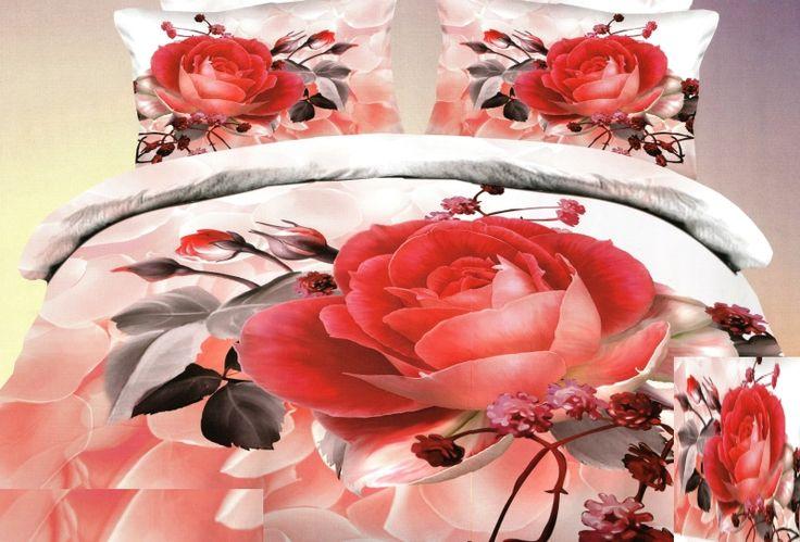 Biele posteľné obliečky s motívom červenej ruže