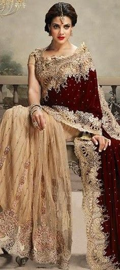 179354 Beige and Brown, Red and Maroon  color family Bridal Wedding Sarees in Net, Velvet fabric with Border, Cut Dana, Lace, Zari work   with matching unstitched blouse.