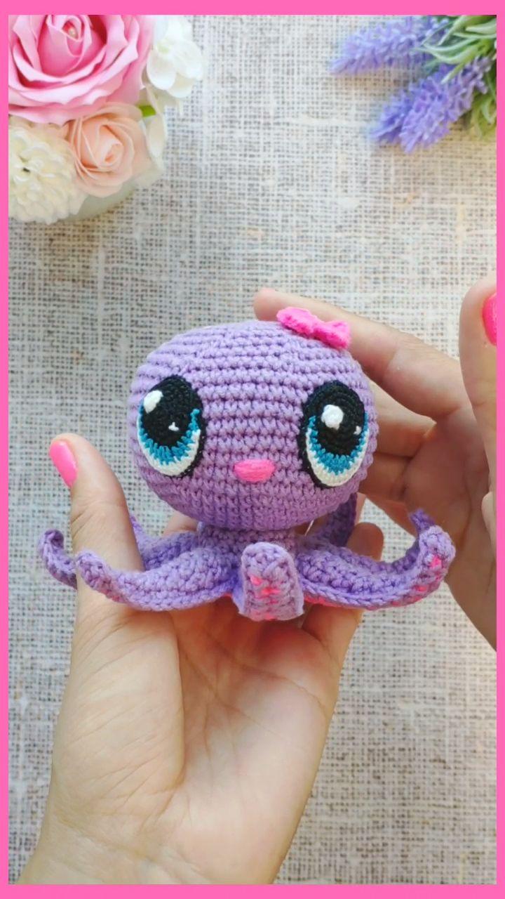 CROCHET PATTERN Octopus mit großen Augen – Amigurumi Baby Octopus PDF-Muster    – Ideias