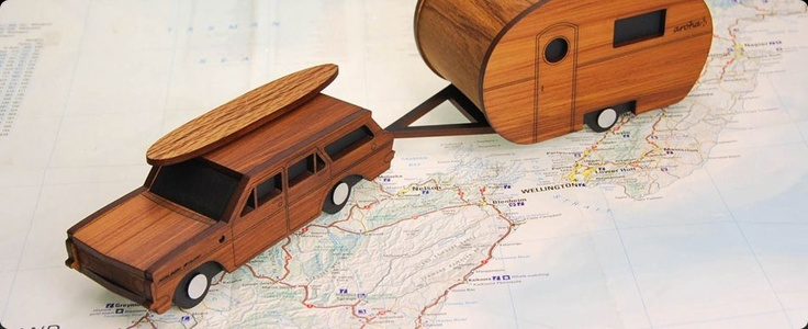 Box Clever Caravan and Holden made from kiln dried New Zealand Rimu Veneer by Ian Blackwell