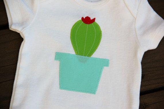 Cactus baby bodysuit succulent baby bodysuit applique bodysuit