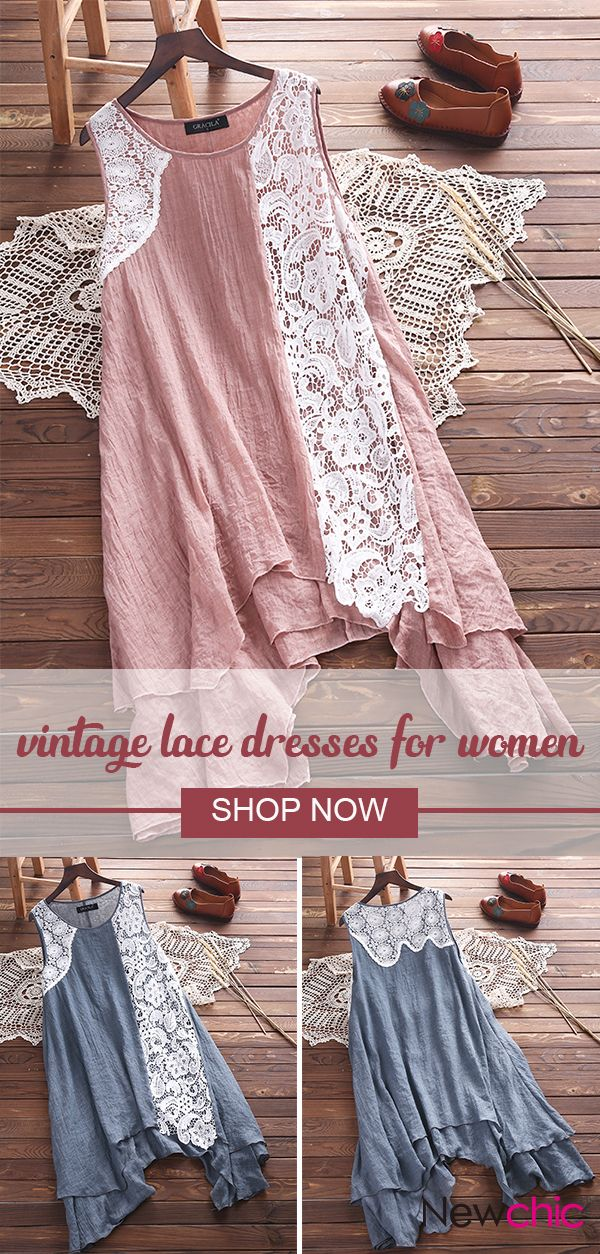 Vintage Lace Patchwork Layered Sleeveless Dresses For Women.  Super comfy cotton material, suitable for summer. SHOP NOW!