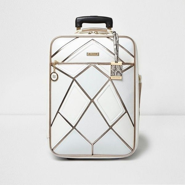 River Island White metallic strip suitcase (£75) ❤ liked on Polyvore featuring bags and luggage