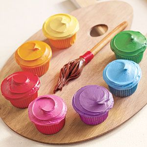 painter's palette cupcakes:  divide vanilla frosting into seven small bowls and add a different shade of food coloring to each to make the paints.  the brush is made from sliced Tootsie Rolls attached to a plain breadstick with a dab of frosting and a strip of red fruit leather.