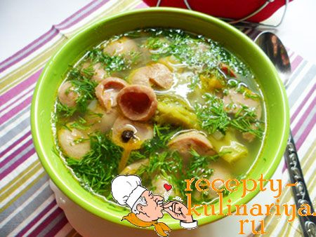 Суп «Баварский с брокколи, охотничьими колбасками и сосисками»