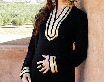 Mariam Style noir Caftan Kaftan - pyjama, resortwear, usure Bohème, cadeau d'anniversaire, cadeaux, plage couvrez-vous, mariage, robe de demoiselle d'honneur