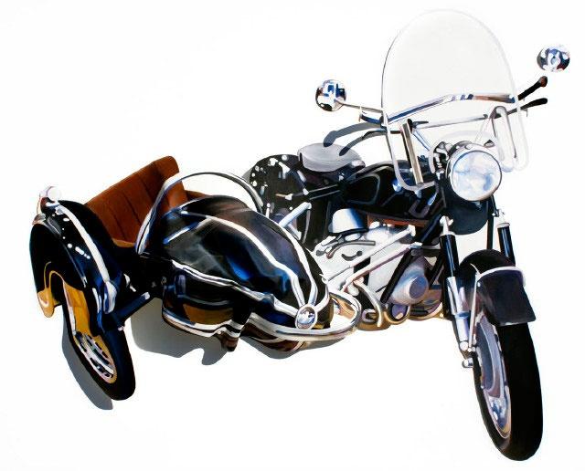 GUSTAVO VILLEGAS Destrucción en Moto BMW No. 193, 2012. Óleo sobre papel sobre papel arrugado sobre tela. 120x160 cms.