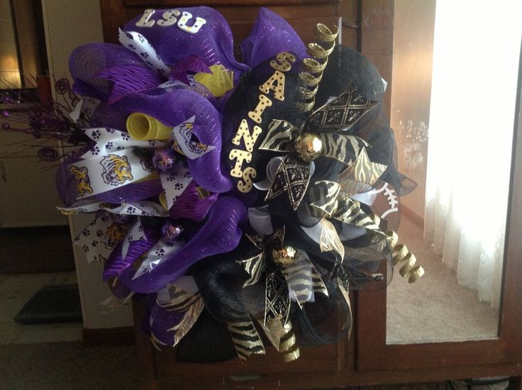 Wreath by Ellen Doiron I bought the gold wreath from http://www.trendytree.com. I love those Lsu Tigers and New Orleans Saints #trendytree #tailgating #wreath #LSU #Saints