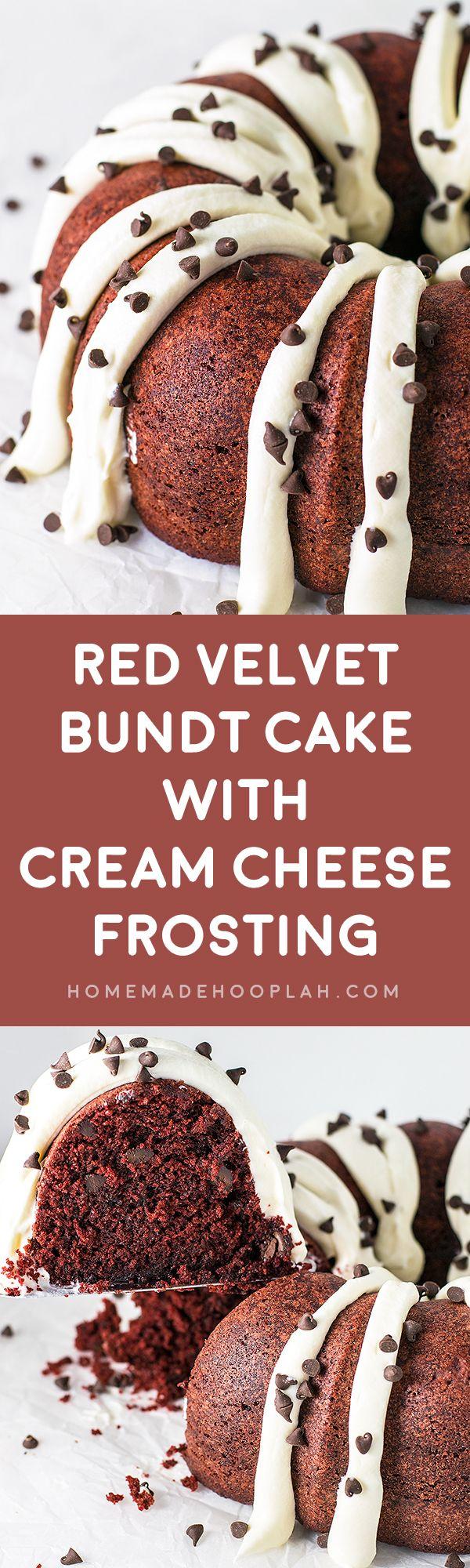 Red Velvet Bundt Cake with Cream Cheese Frosting! A Nothing Bundt Cake copycat recipe that hits the mark: ultra moist red velvet bundt cake topped deliciously fluffy cream cheese frosting.   HomemadeHooplah.com