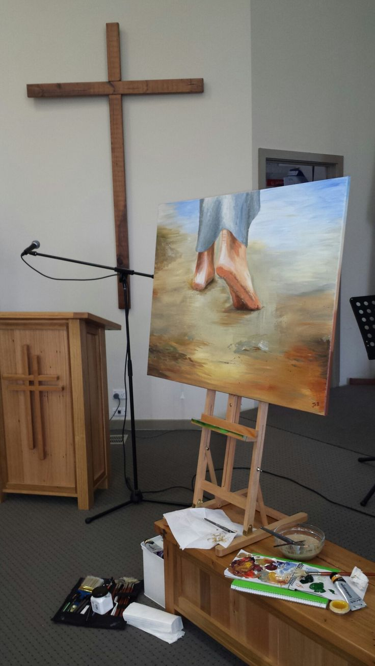 """""""The footsteps of Jesus.""""Painted live at a """"Hymns and High Tea"""" event at Whittlesea City Salvation Army. Acrylic on Canvas by Jo Brookshaw."""