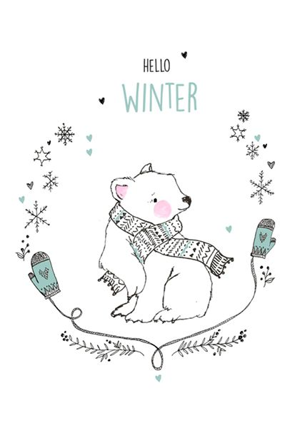 "Hello Winter! (""Ansichtkaart Marieke ten Berge - hello winter ijsbeer."")"