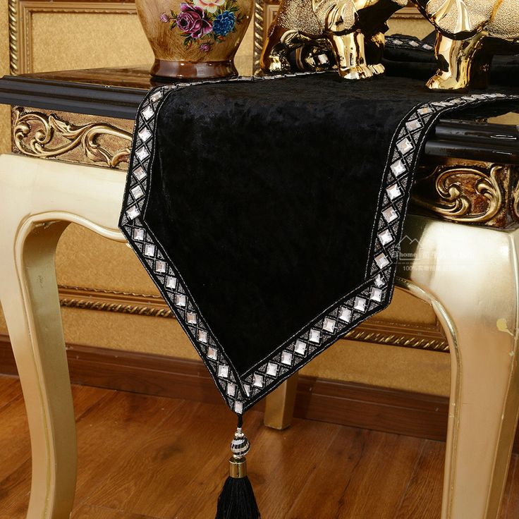 European Luxury Fashion Table Runner Table Decoration Chinese Table Runner Bed Cloth Meal Mat Wedding Black Color Home Decor