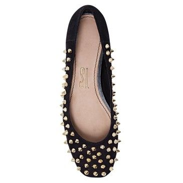 Black Spiked Flats from Sapatilha.