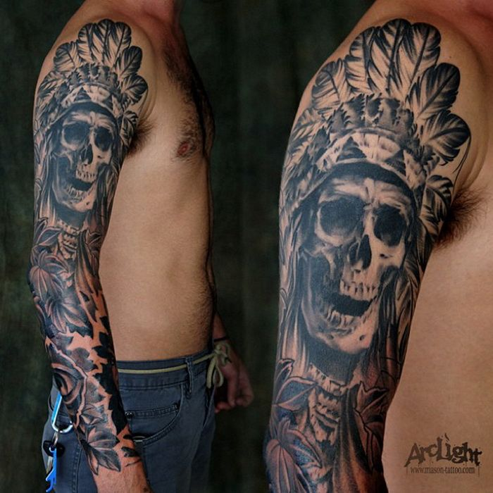 full sleeve skull astec tattoo body modifications pinterest tattoo and tatting. Black Bedroom Furniture Sets. Home Design Ideas